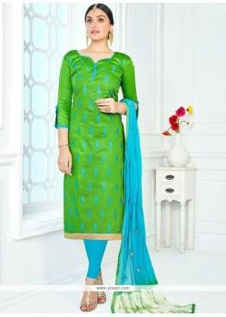 Mystical Cotton Green Churidar Suit