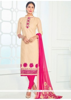 Sightly Beige And Hot Pink Cotton Churidar Suit