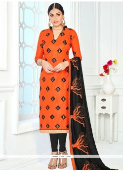 Captivating Embroidered Work Churidar Suit