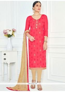 Fetching Rose Pink Lace Work Cotton Churidar Suit