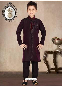 Demure Jacquard Royal Blue Sherwani