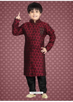 Exquisite Red Jaquard Kurta