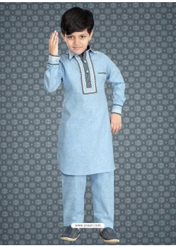 Enhancing Blue Cotton Silk Kurta