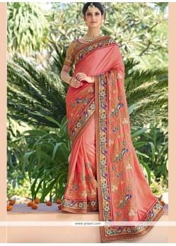 Sightly Peach Fancy Fabric Designer Bridal Sarees