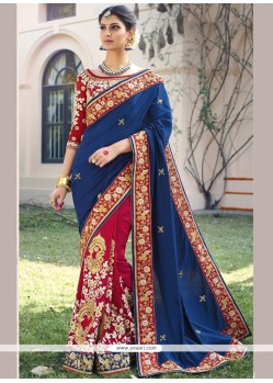 Dazzling Navy Blue And Red Patch Border Work Designer Bridal Sarees