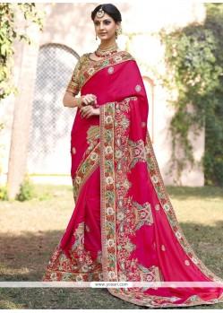 Captivating Hot Pink Fancy Fabric Designer Bridal Sarees