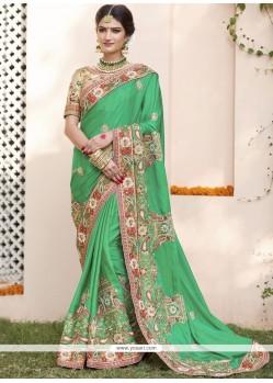 Vivacious Green Hand Work Work Designer Bridal Sarees