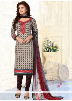 Trendy Print Work Cotton Churidar Suit