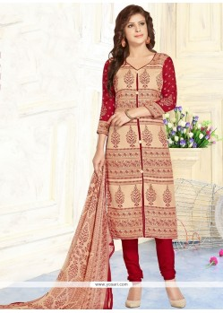 Phenomenal Cotton Beige And Red Print Work Churidar Suit