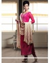 Splendid Pink Faux Georgette Churidar Suit