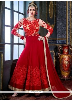Red Pure Georgette Anarkali Suit