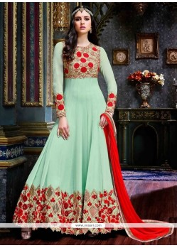 Swanky Green Embroidered Work Pure Georgette Anarkali Salwar Suit