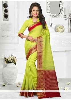 Print Cotton Casual Saree In Green