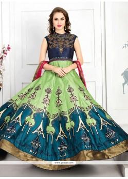 Flamboyant Hand Work Work Green Anarkali Salwar Kameez