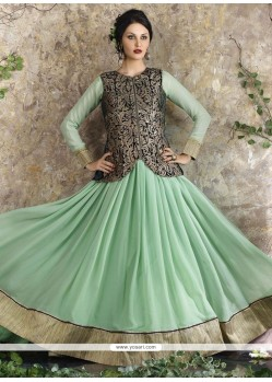 Beautiful Zari Work Sea Green Georgette Anarkali Salwar Kameez