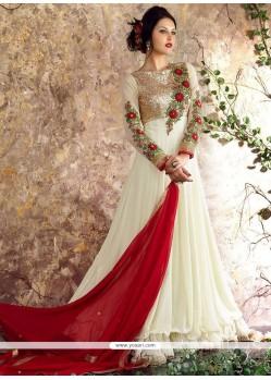 Exquisite Off White Anarkali Salwar Suit