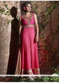 Fetching Pink Resham Work Georgette Anarkali Salwar Suit