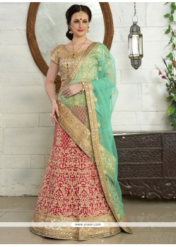 Embroidered Net A Line Lehenga Choli In Blue And Pink