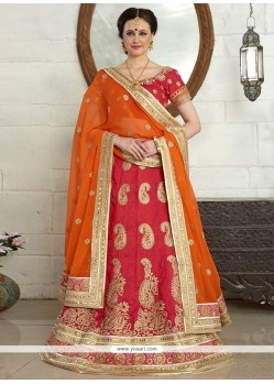 Haute Orange And Red Lace Work Art Silk A Line Lehenga Choli