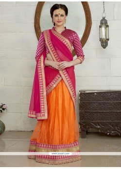 Honourable Orange And Pink A Line Lehenga Choli