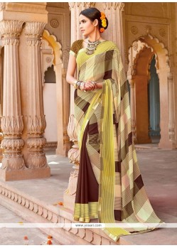 Compelling Yellow Georgette Casual Saree