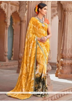 Digital Print Georgette Casual Saree In Yellow