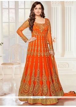 Unique Embroidered Work Orange Net Anarkali Salwar Suit