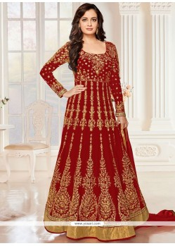 Flawless Embroidered Work Net Anarkali Salwar Suit