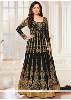 Lovable Zari Work Black Net Anarkali Salwar Suit