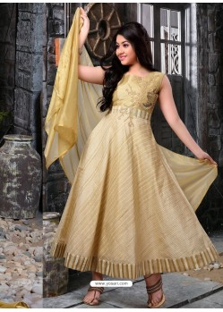 Girls Beige Cotton Anarkali Suit