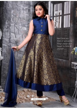 Girls Blue Silk Shaded Churidar Suit