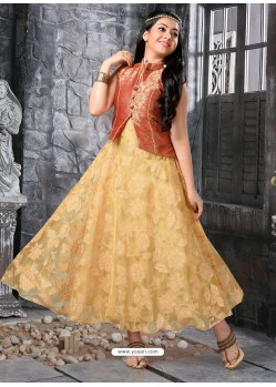 Girls Gold Jacket Style Gown