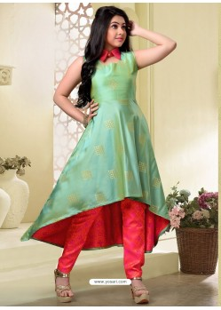 Girls Sea Green Art Silk Salwar Suit