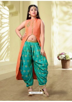 Girls Peach Artsilk Patiala Suit