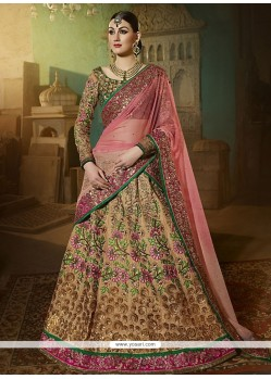 Perfect Embroidered Work Beige A Line Lehenga Choli