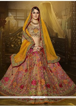 Beautiful Art Silk Multi Colour Patch Border Work A Line Lehenga Choli