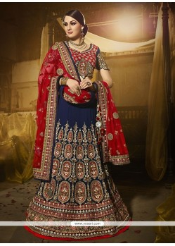 Vivacious Georgette Navy Blue Embroidered Work A Line Lehenga Choli