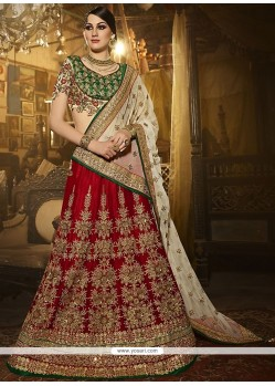 Gorgonize Embroidered Work Red A Line Lehenga Choli