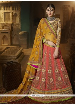 Baronial Art Silk Patch Border Work A Line Lehenga Choli