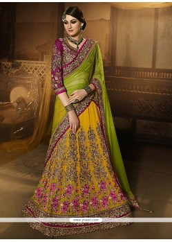 Incredible Georgette Yellow A Line Lehenga Choli