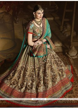 Intriguing Patch Border Work Art Silk A Line Lehenga Choli