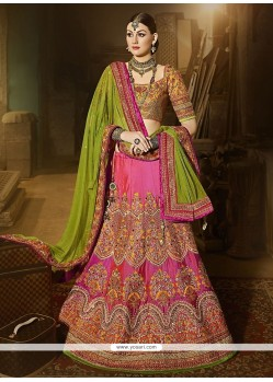 Dashing Satin Resham Work A Line Lehenga Choli