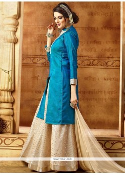 Snazzy Blue Long Choli Lehenga