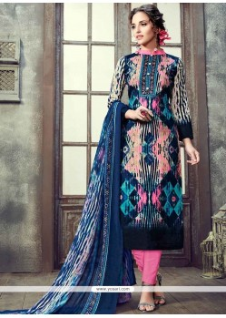Immaculate Print Work Cotton Multi Colour Pant Style Suit