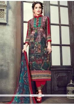Flamboyant Multi Colour Cotton Pant Style Suit