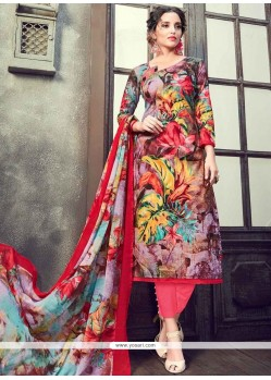 Flawless Print Work Multi Colour Pant Style Suit