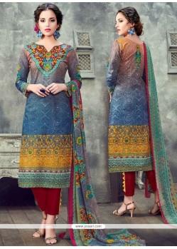 Versatile Multi Colour Print Work Cotton Pant Style Suit