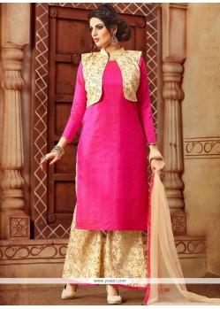 Irresistible Print Work Art Silk Hot Pink Designer Palazzo Suit