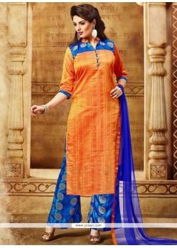 Catchy Print Work Banarasi Silk Blue And Orange Designer Palazzo Salwar Kameez