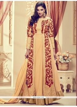 Amazing Faux Georgette Beige Embroidered Work Anarkali Suit